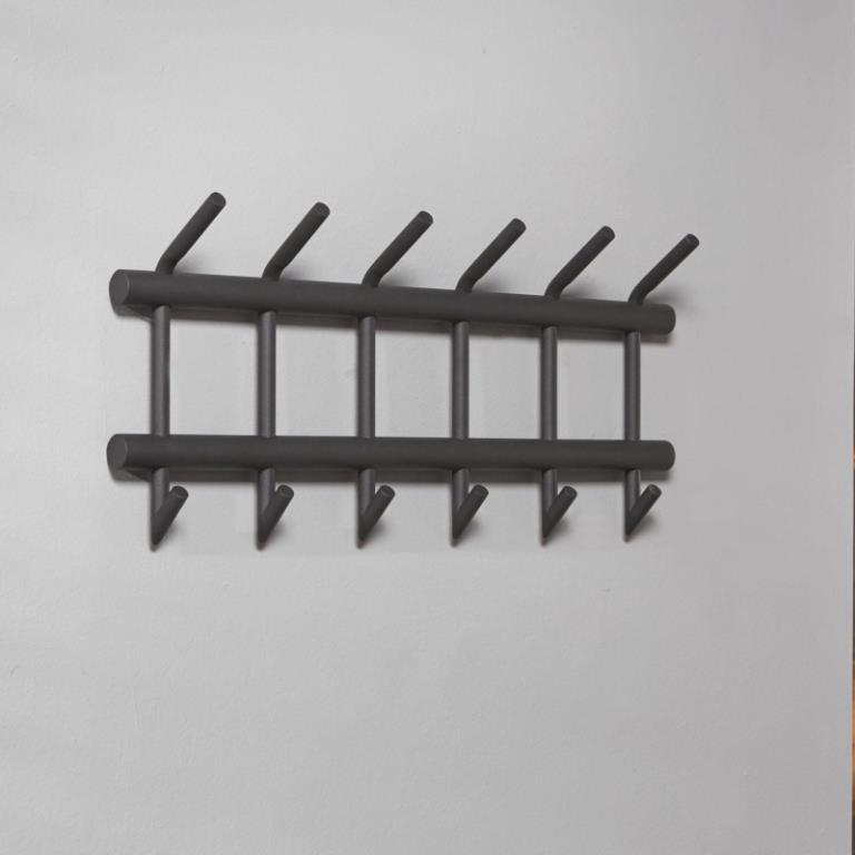 Image of   Furbo Knagerække, 6 dobbelt kroge, mat grå stål