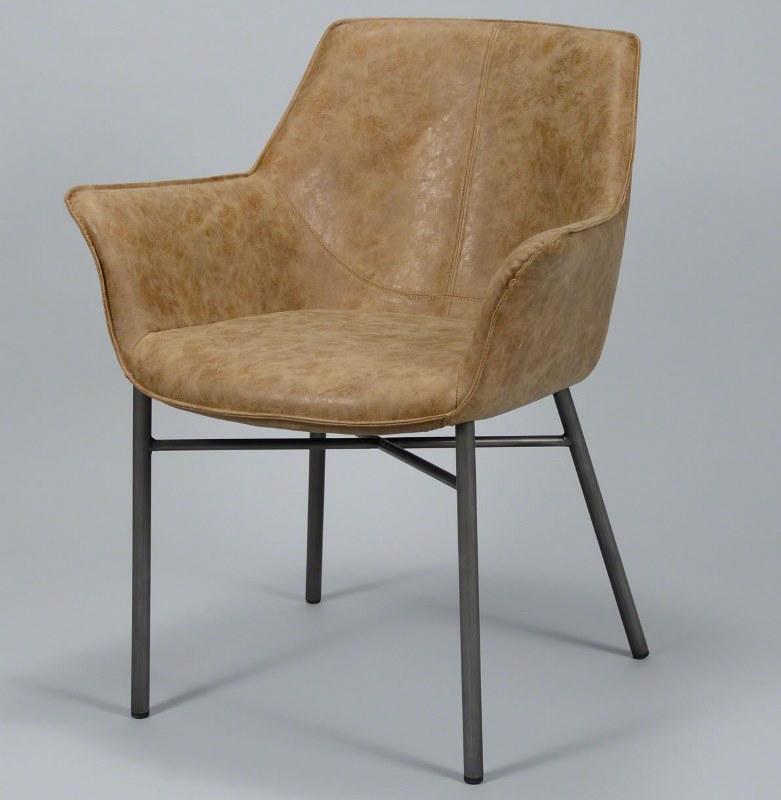 Furbo spisebordsstol, stål og brunt læder fra furbo på boboonline.dk
