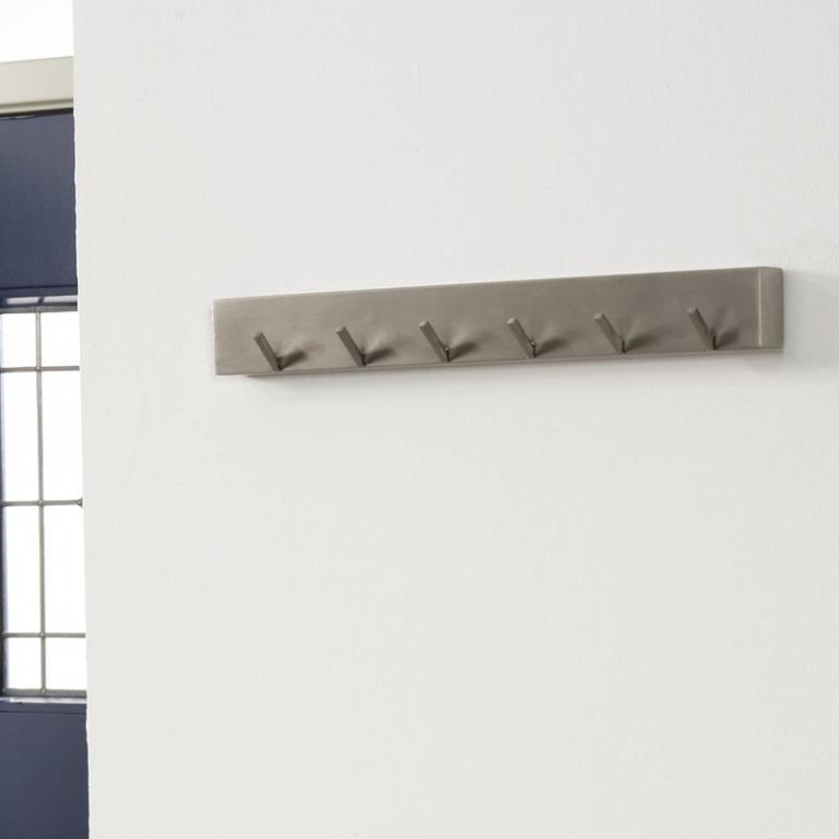 Image of   Furbo Knagerække, 6 kroge, børstet stål