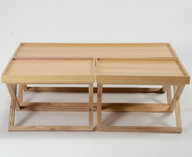 Billede af Furbo Sofabordssæt, fineret eg, 3 bakkeborde