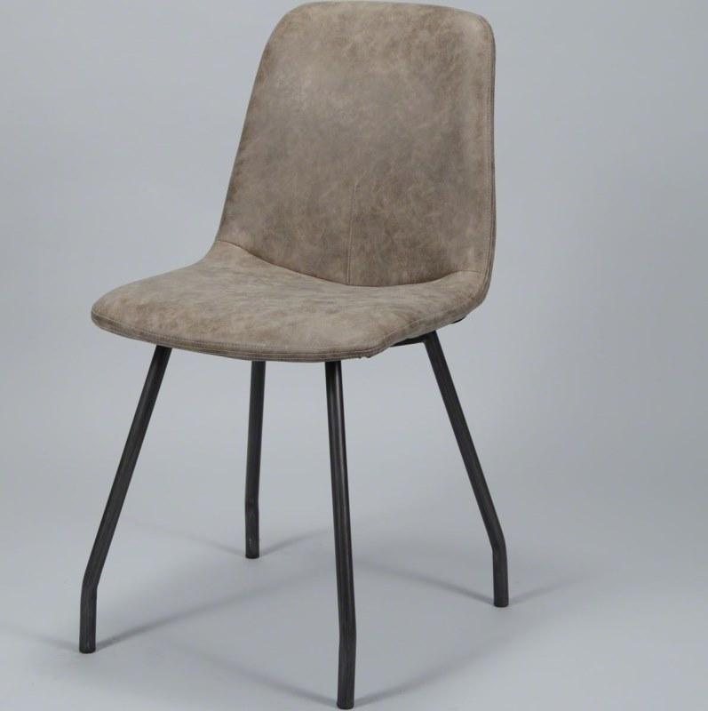 Image of   FURBO Spisebordsstol, stål og brunt læder