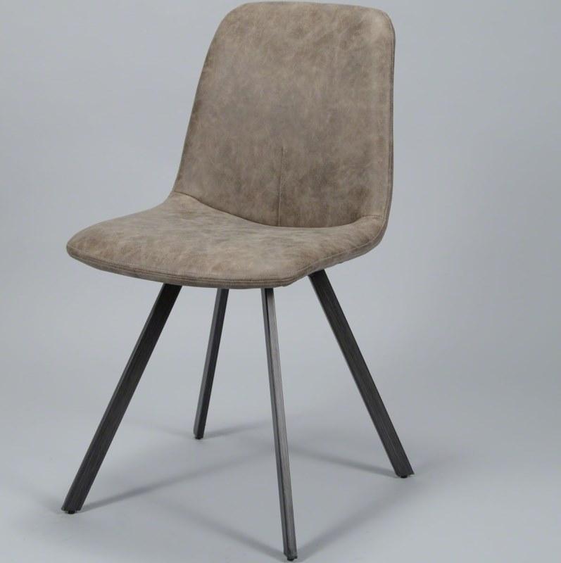 Billede af FURBO spisebordsstol - brunt kunstlæder og fladt stål
