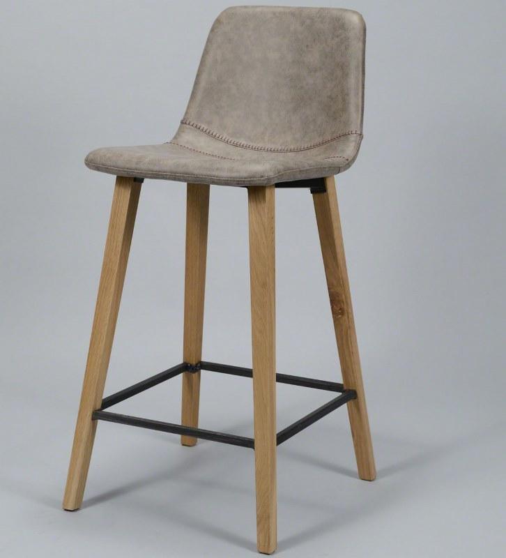 Image of   FURBO Barstol, træ og brunt læder