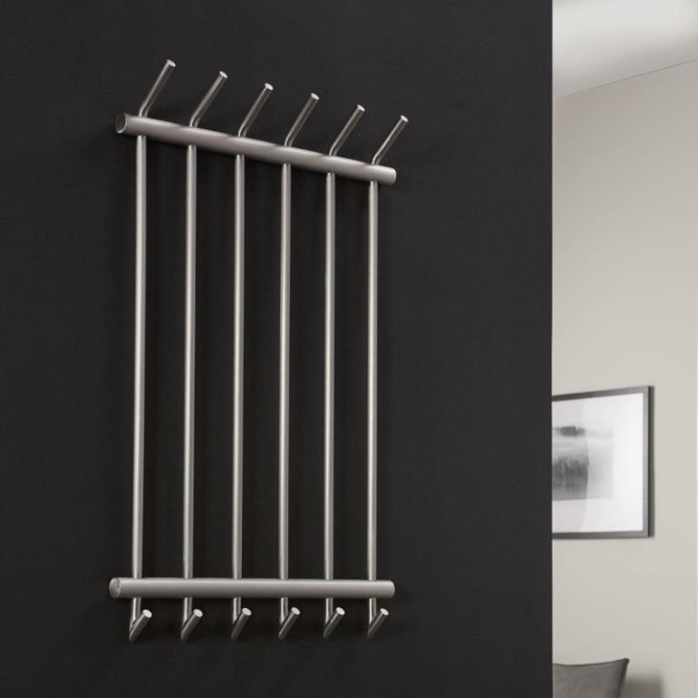 Image of   Furbo Knagerække, børstet stål, 6 kroge, 55 cm
