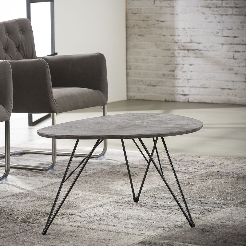 Billede af Furbo Sofabord nyreformet, beton look, 90 x 60 cm