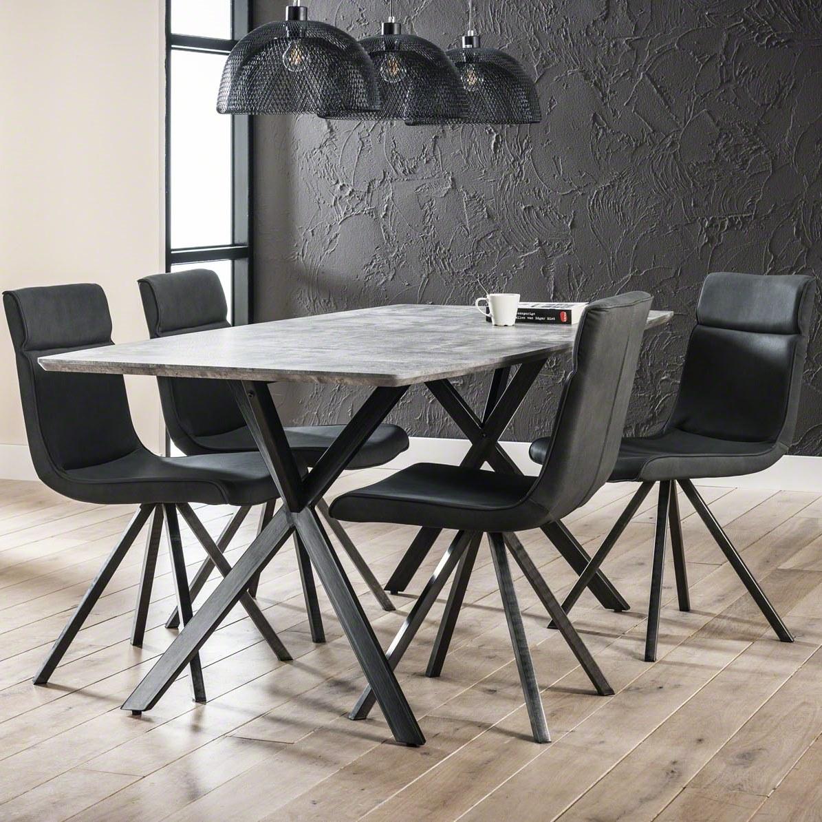 Furbo spisebord - beton look og sortlakeret stål (90x160) fra furbo fra boboonline.dk