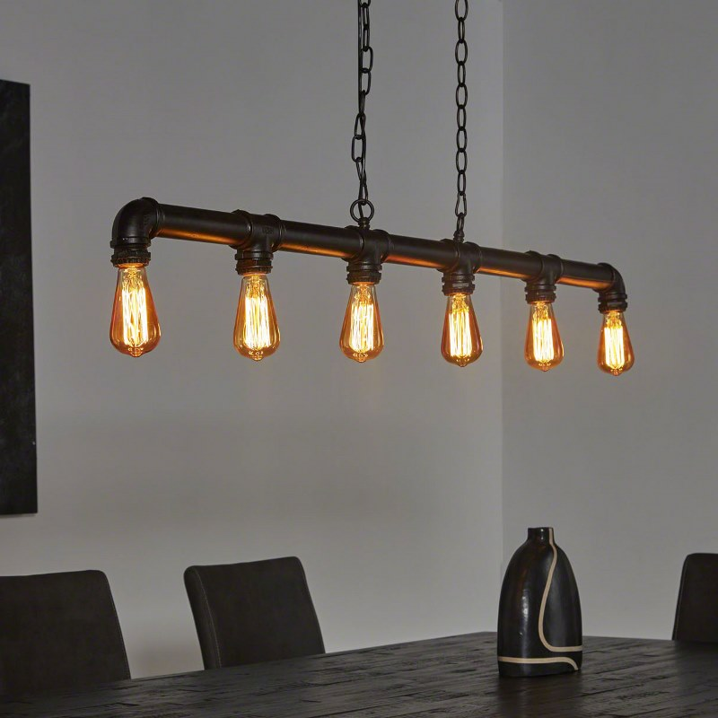 Image of   FURBO Loftslampe, industri design, sort metal, 6 pærer