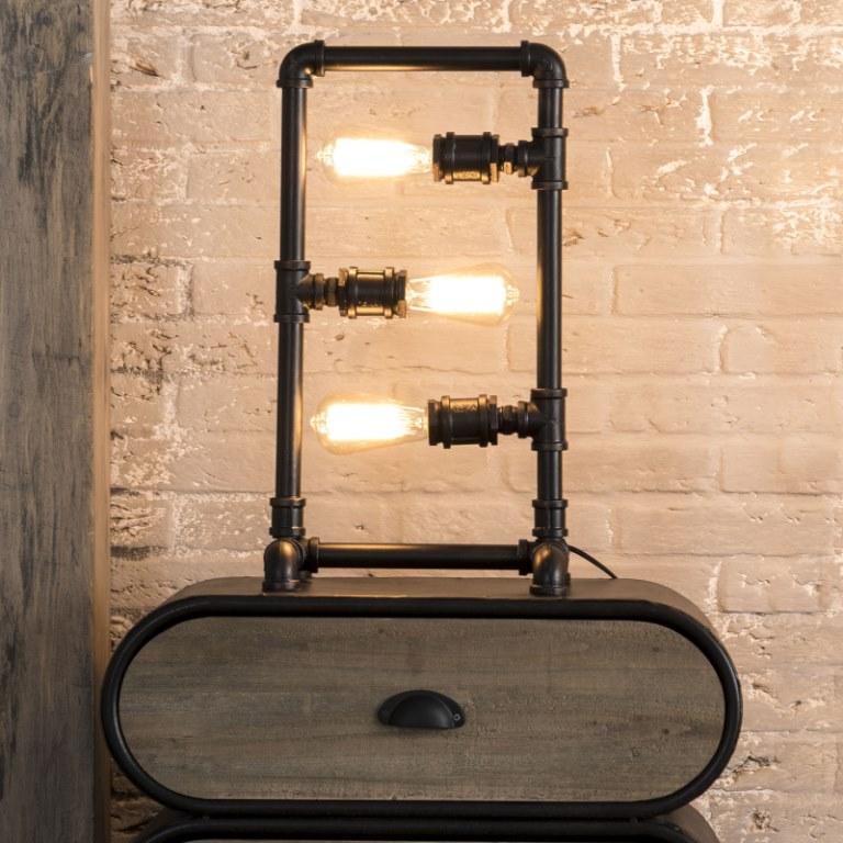 Image of   FURBO Bordlampe, industrielt design, sort metal
