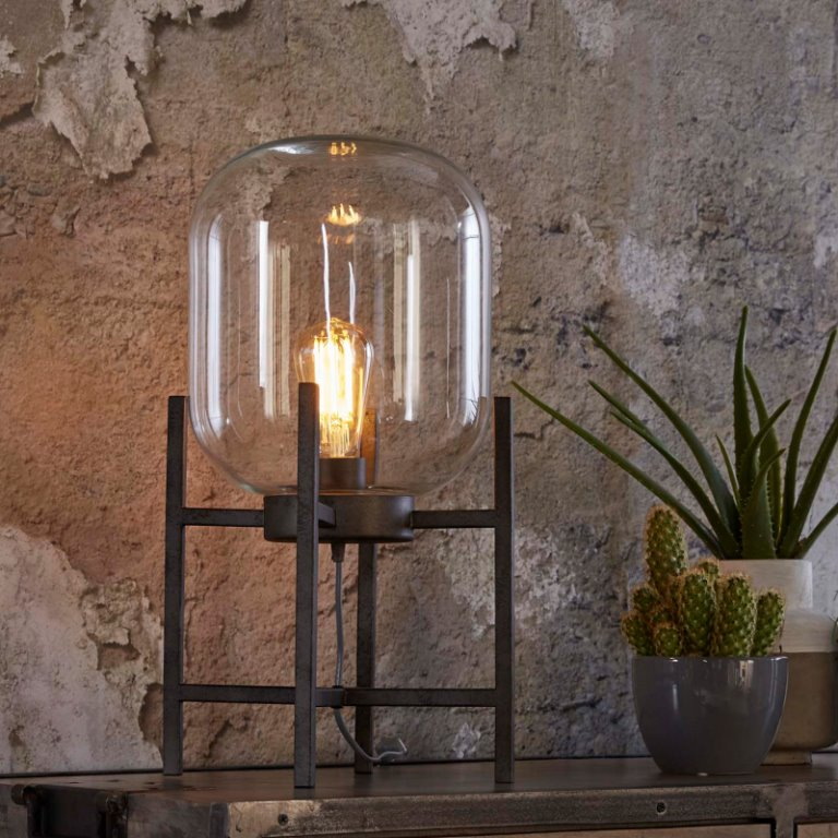 Image of   FURBO Bordlampe, antik sølv og glas