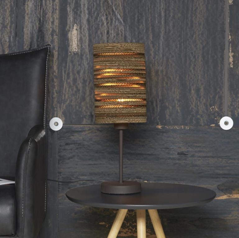 Billede af FURBO Bordlampe, metal, brun skærm