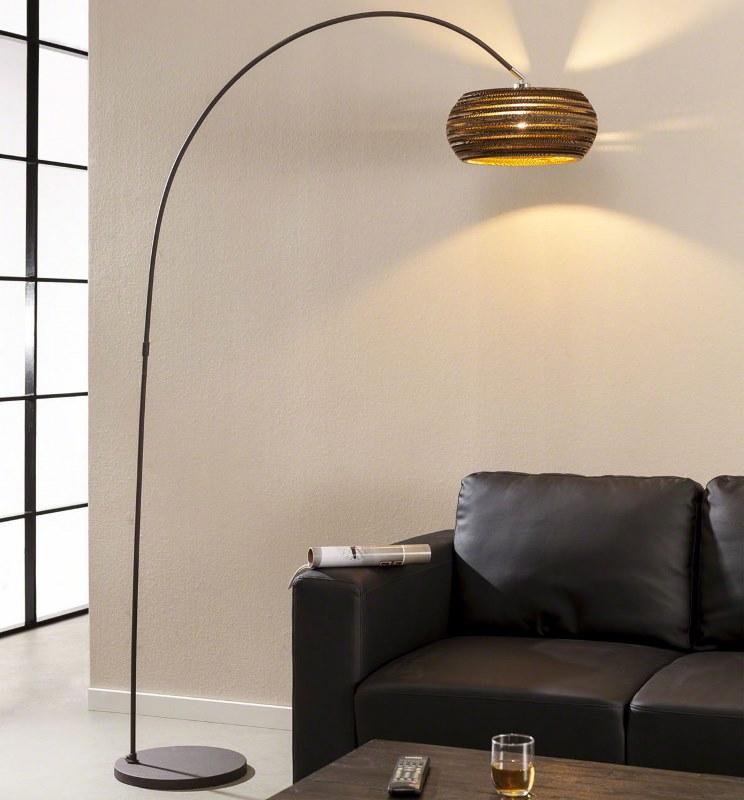 FURBO gulvlampe - sort metal m. brun lampeskærm (H 200)