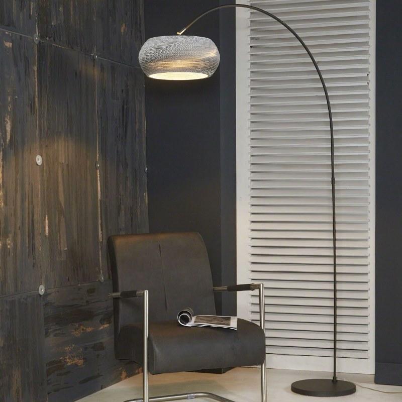 FURBO gulvlampe - sort metal m. hvid lampeskærm (H 200)