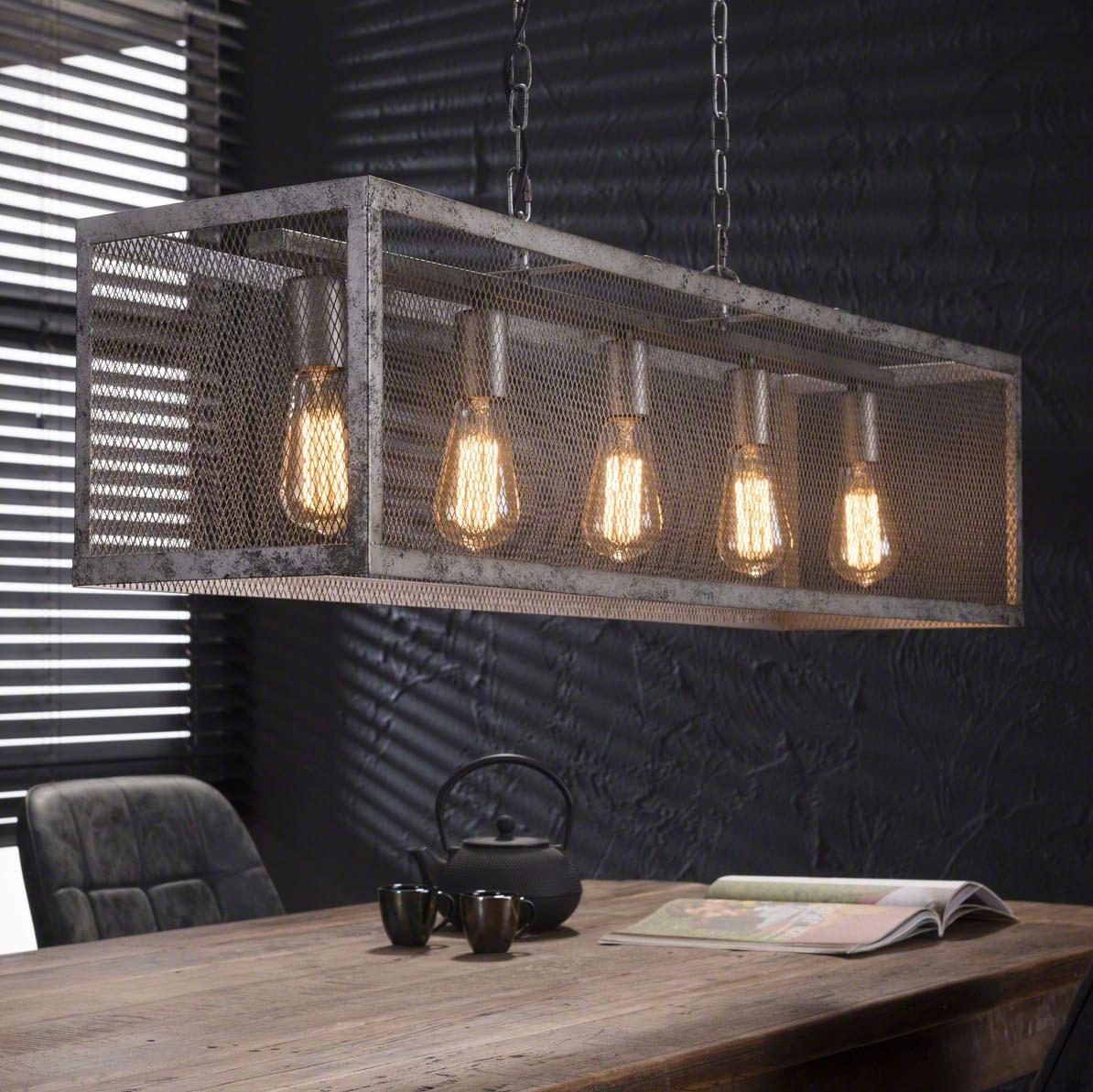furbo Furbo loftslampe, industri design, sølv metal, 5 pærer fra boboonline.dk