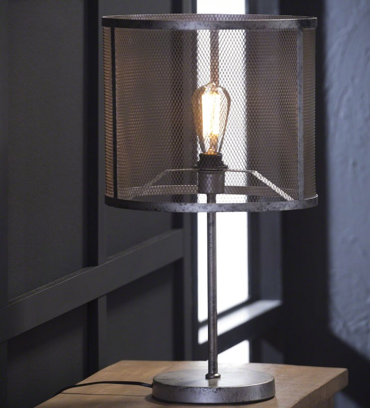 Image of   FURBO Bordlampe, industriel design, gammel sølv finish