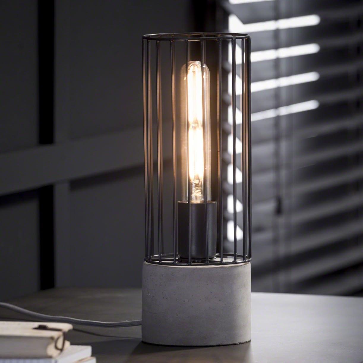 Billede af FURBO Bordlampe, cylinder formet metal og beton fod