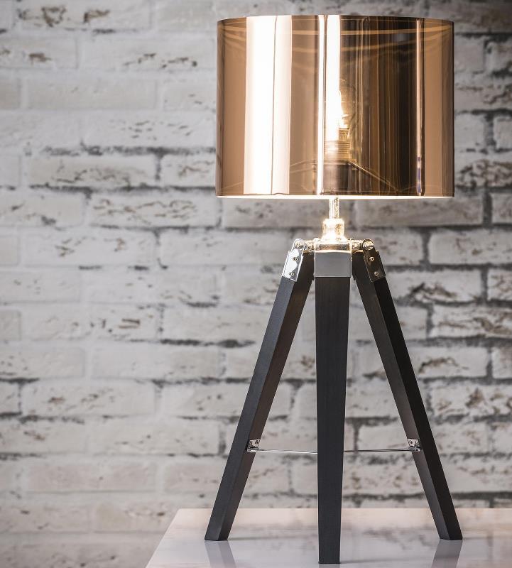 Billede af FURBO Bordlampe, træfod, kobber skærm