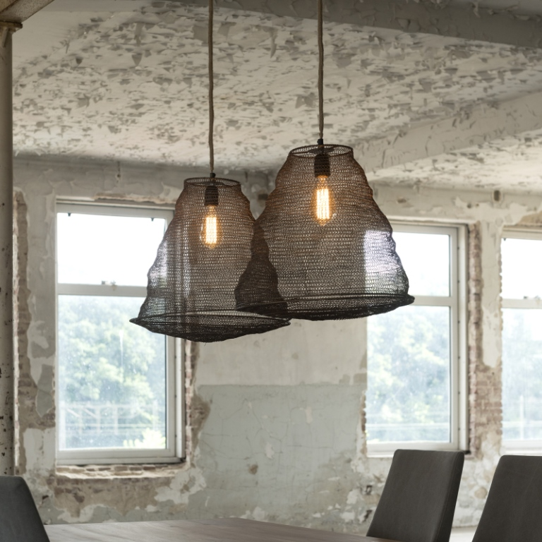 Image of   FURBO Loftslampe, tråd design, antik bronze