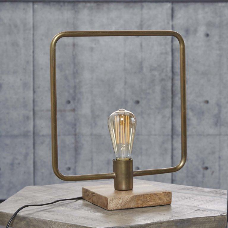 Billede af FURBO Bordlampe, antik bronze, træfod