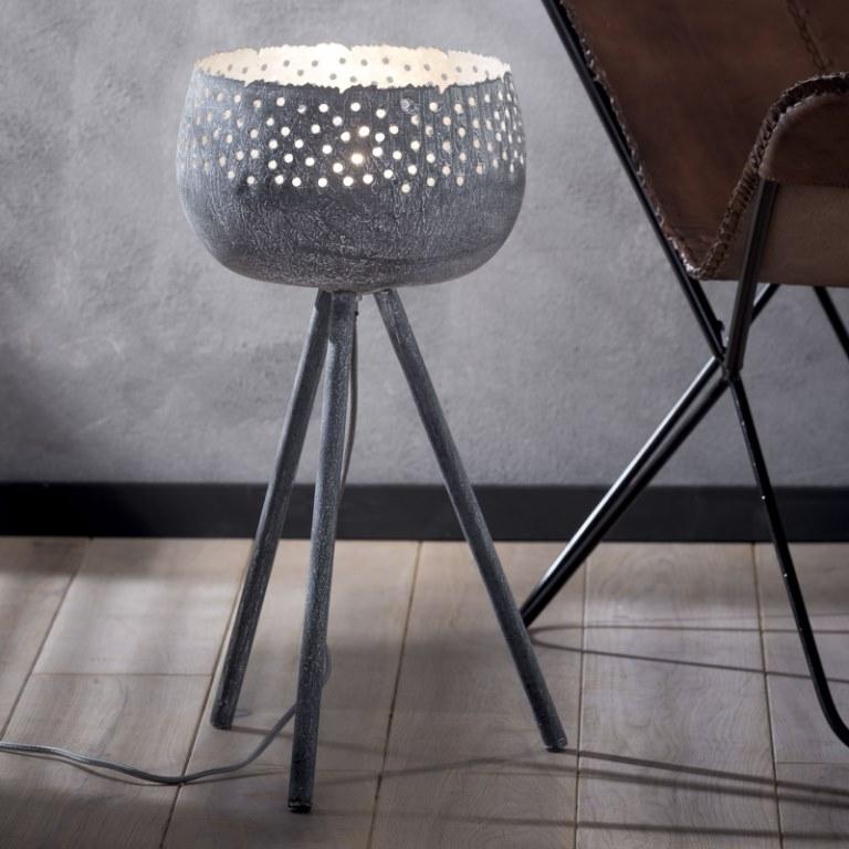 Image of   FURBO Bordlampe, trefod, patineret grå metal