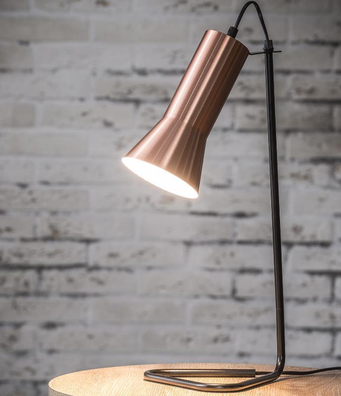 Billede af FURBO Bordlampe, sort metal, kobber skærm