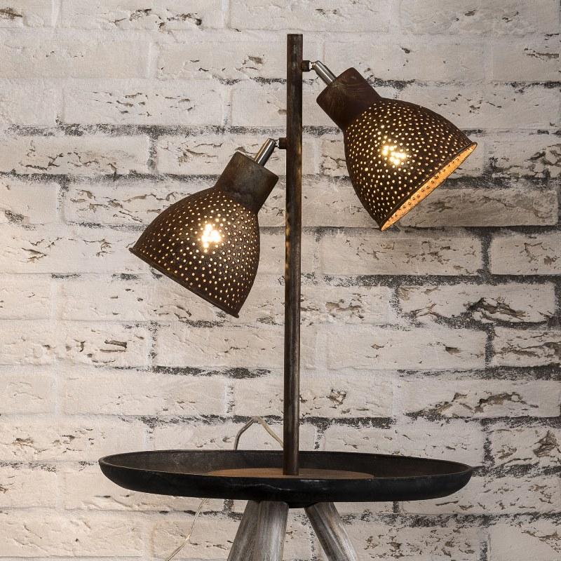 Billede af FURBO Dobbel bordlampe, brun patineret metal