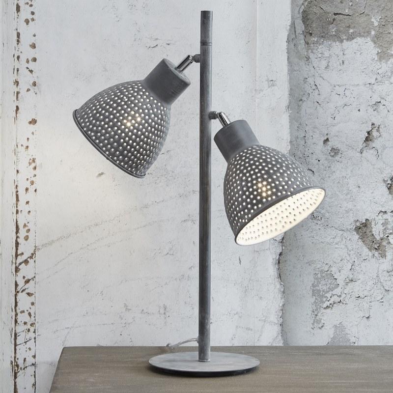 Billede af FURBO Dobbel bordlampe, grå patineret metal