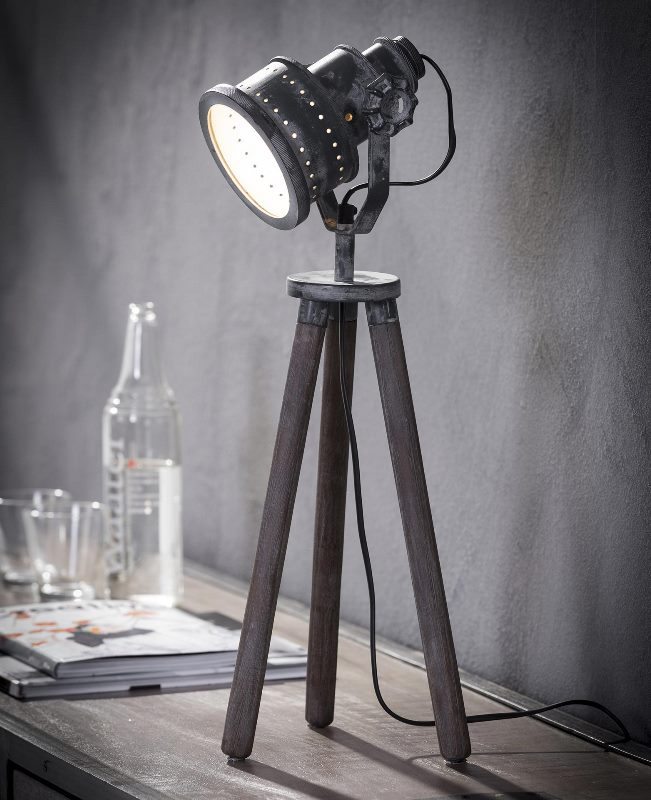 Billede af FURBO Bordlampe, patineret grå metal, ben i træ