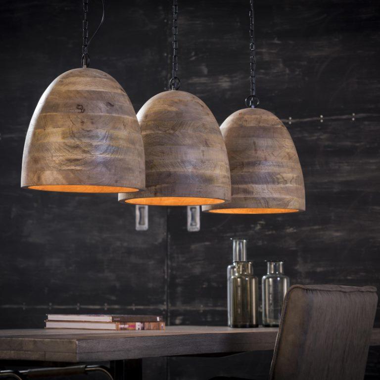 Billede af FURBO Loftslampe, massiv mango træ, 3 lamper