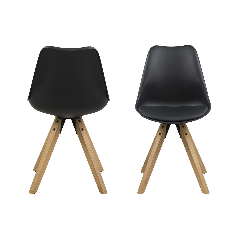 ACT NORDIC Dima spisebordsstol - sort plastik, sort PU og natur gummitræ