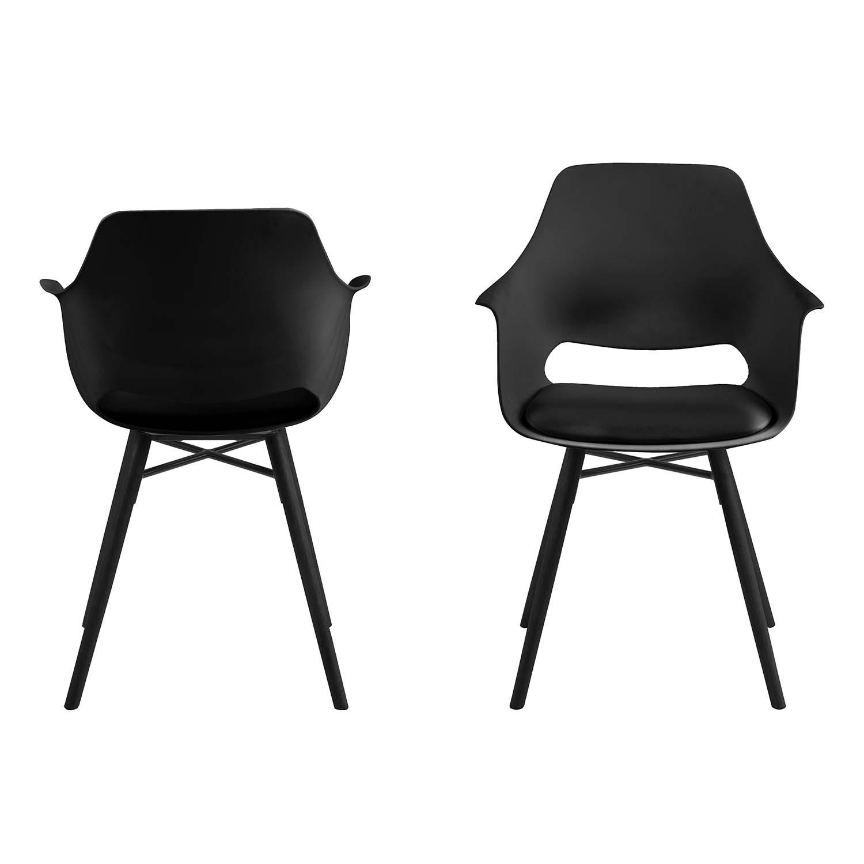 ACT NORDIC Ramona spisebordsstol, m. armlæn - sort plastik sort PU og sort gummitræ