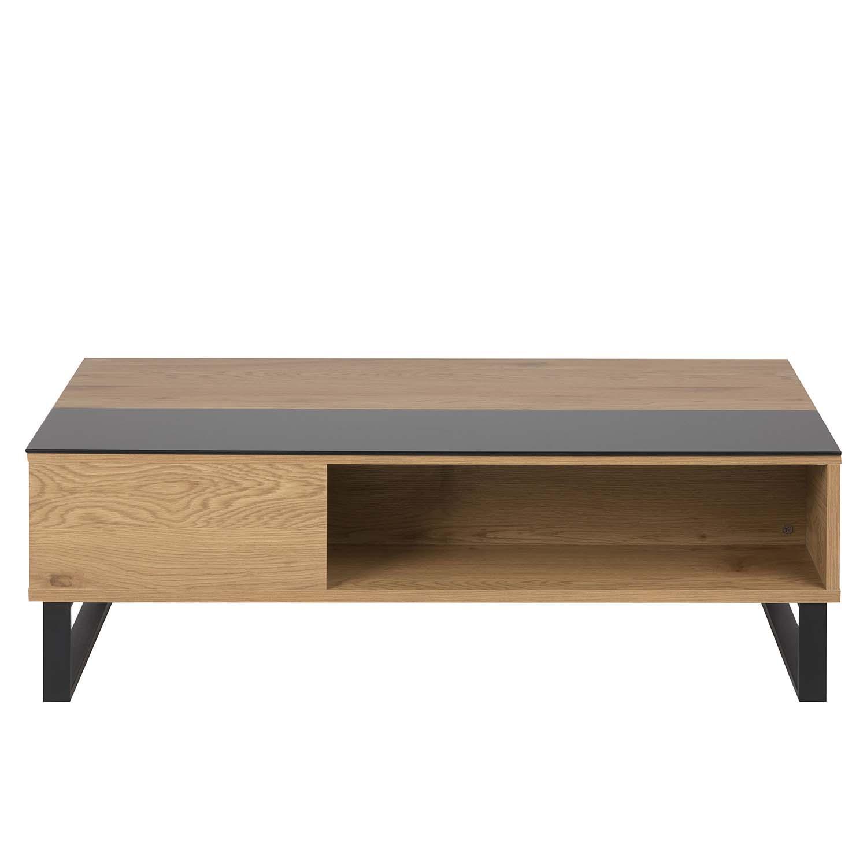 ACT NORDIC Azalea sofabord m. opbevaring - natur papir vild eg, sort glas og sort metal (110x60) thumbnail
