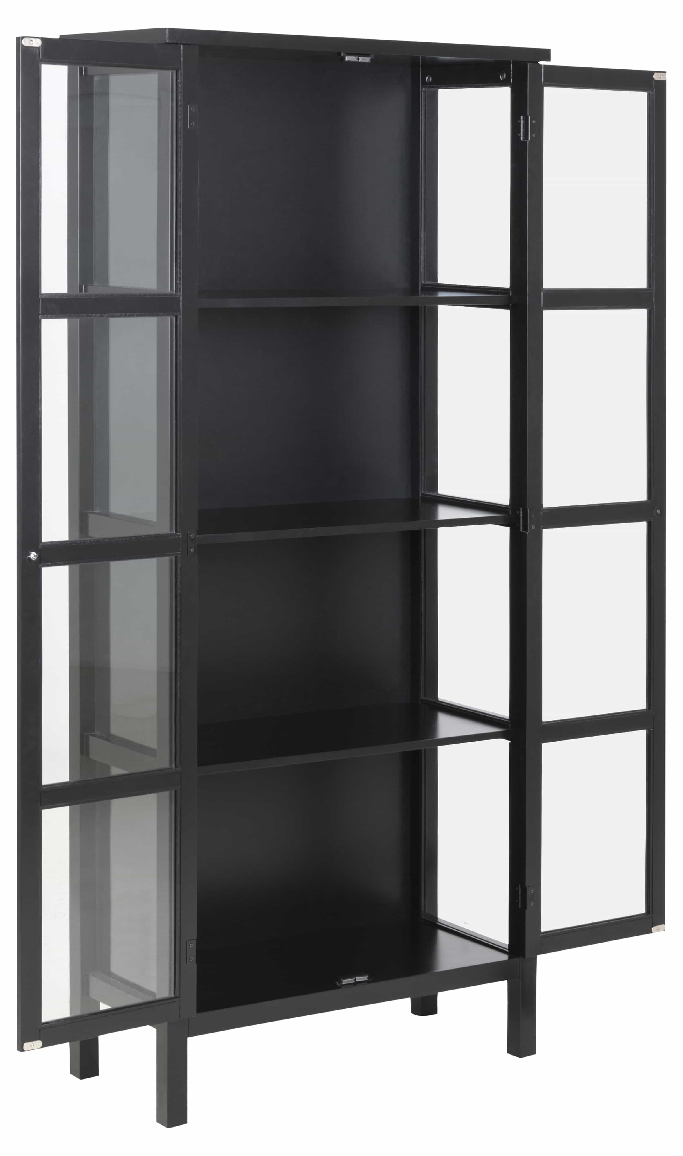 Eton vitrineskab - sort træ, m. 2 glaslåger og 3 hylder