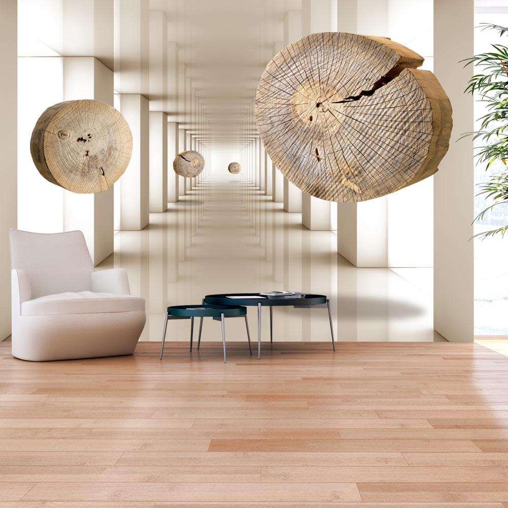 artgeist artgeist fototapet af flyvende træ - flying discs of wood (flere størrelser) 100x70