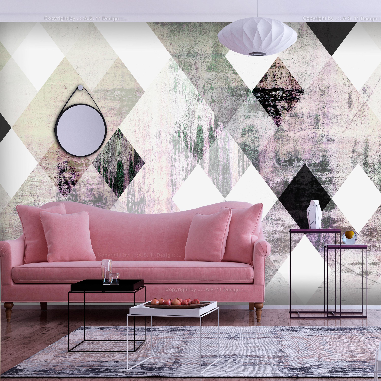 Billede af ARTGEIST Fototapet - Rhombic Chessboard (Pink) anderledes skakbræt (flere størrelser) 100x70