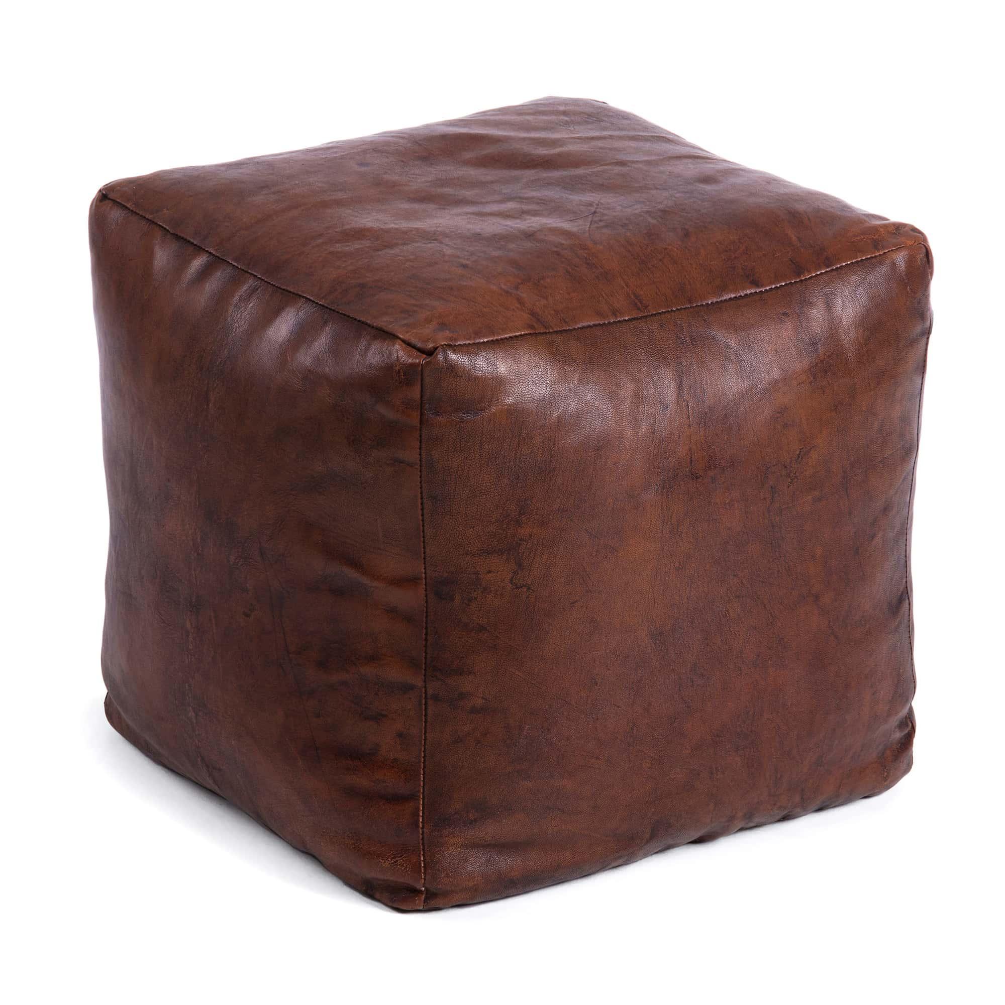 LAFORMA Hemma puf - mørkebrun læder, kvadratisk (47x47x47)