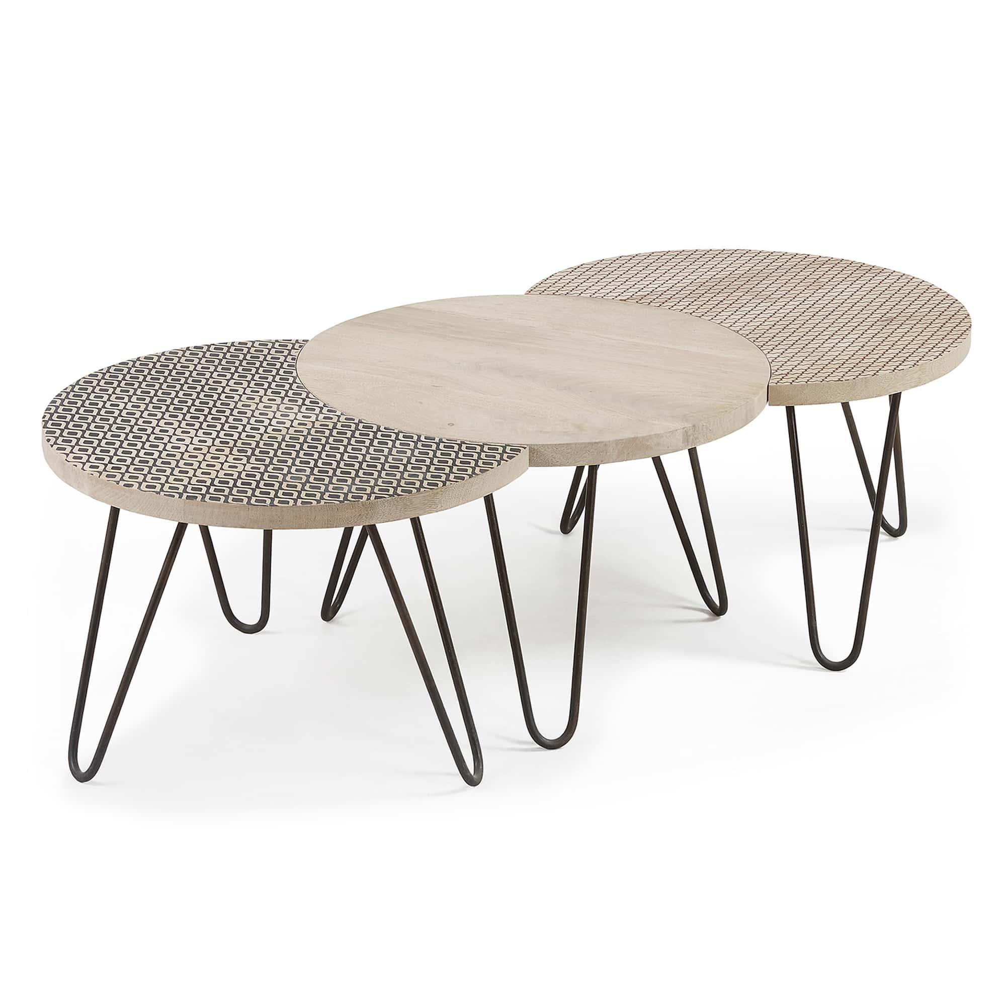 Laforma hoss sofabord - natur/sort mangotræ/metal, rund (sæt ? 3) fra laforma på boboonline.dk