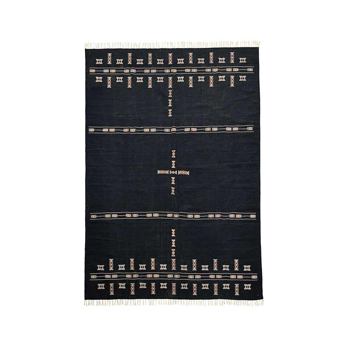 House doctor mila gulvtæppe - sort og mønstret multifarvet stof (200x300) fra house doctor fra boboonline.dk