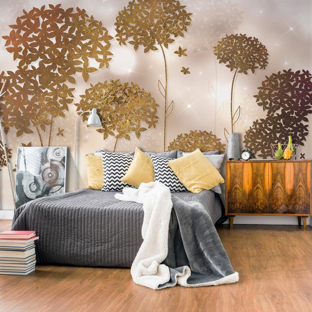 Artgeist Artgeist Fototapet - Golden Garden, Moderne Blomster I Metal Look (Flere Størrelser) 200X140 Boligtilbehør