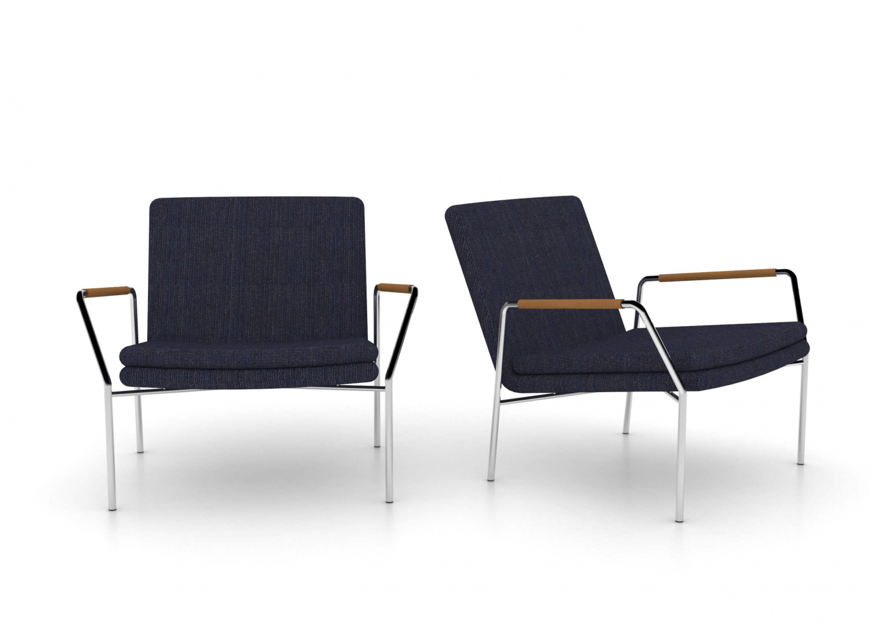 JENSENPLUS Hoyo loungestol - blå stof/cognac læder og krom, m. armlæn Blå Cognac thumbnail