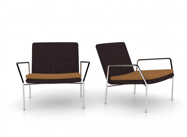 Jensenplus hoyo loungestol - brunt stof/cognac læder og krom, m. armlæn cognac (læder) ingen