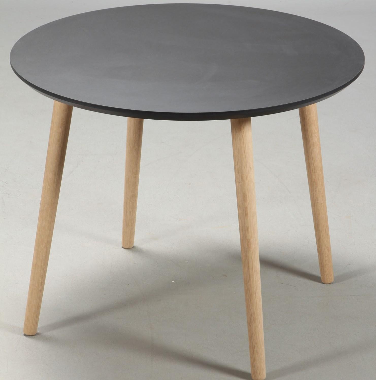 FURBO spisebord - sort linoleum og egeben, rund (Ø 120)