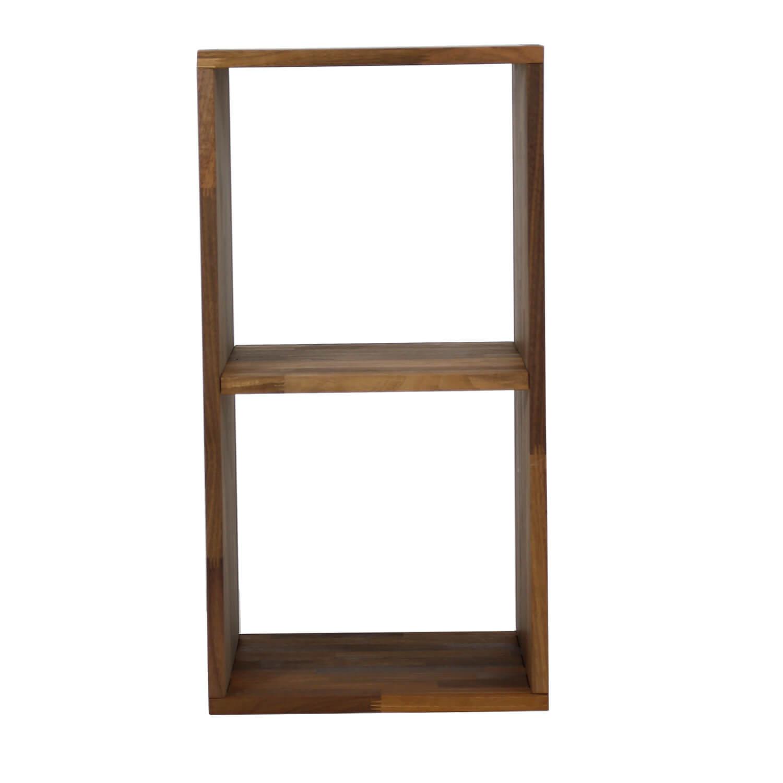 nocnoi – Nocnoi puzzle rektangulær reol, m. 2 rum - massiv olieret valnød, til væg/gulv (70x36) fra boboonline.dk