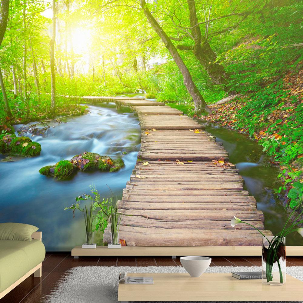 Billede af ARTGEIST fototapet - Green forest, bro i smuk skov (flere størrelser) 100x70