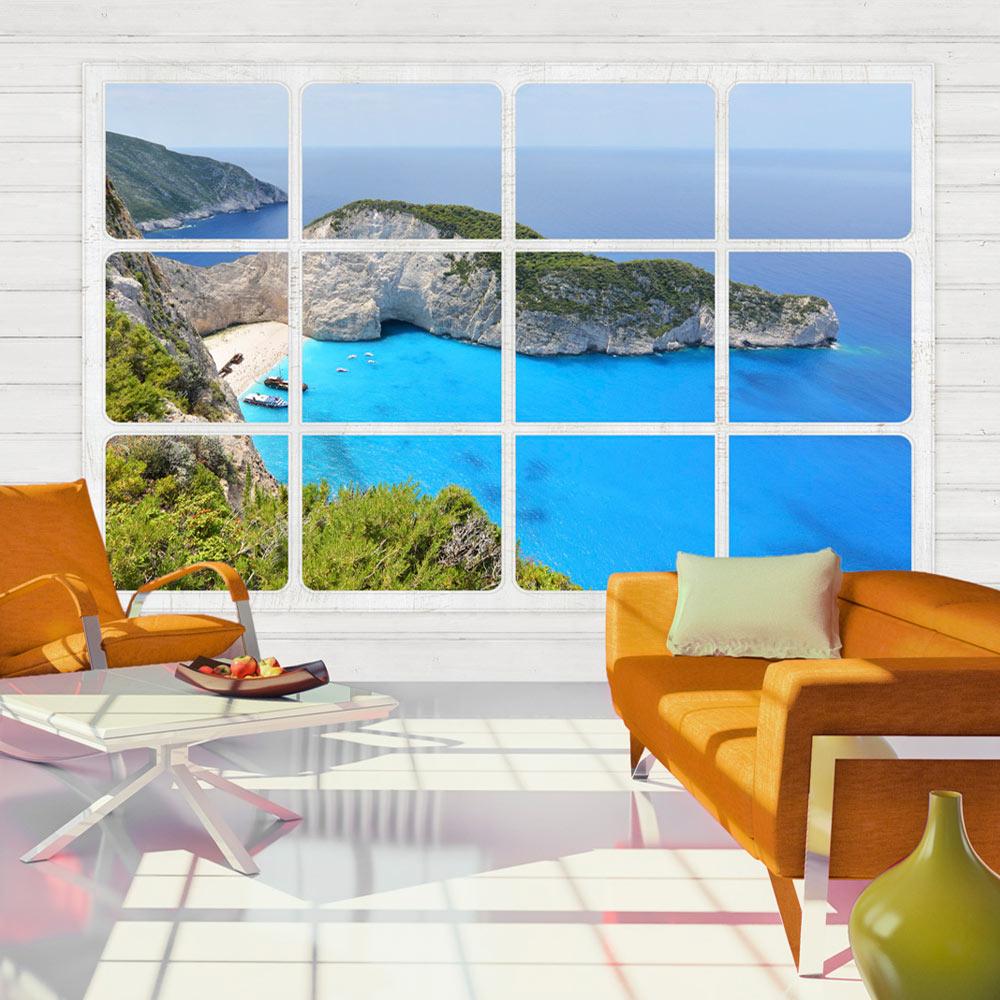 Billede af ARTGEIST fototapet - Window on the world, vindue med smuk eksotisk udsigt (flere størrelser) 100x70