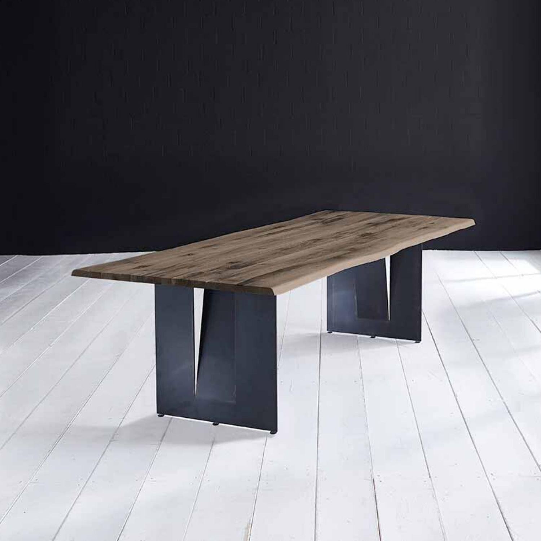 BODAHL Concept 4 You plankebord - røget egetræ m. barkkant og Steven ben, m. udtræk 6 cm 280 x 110 cm