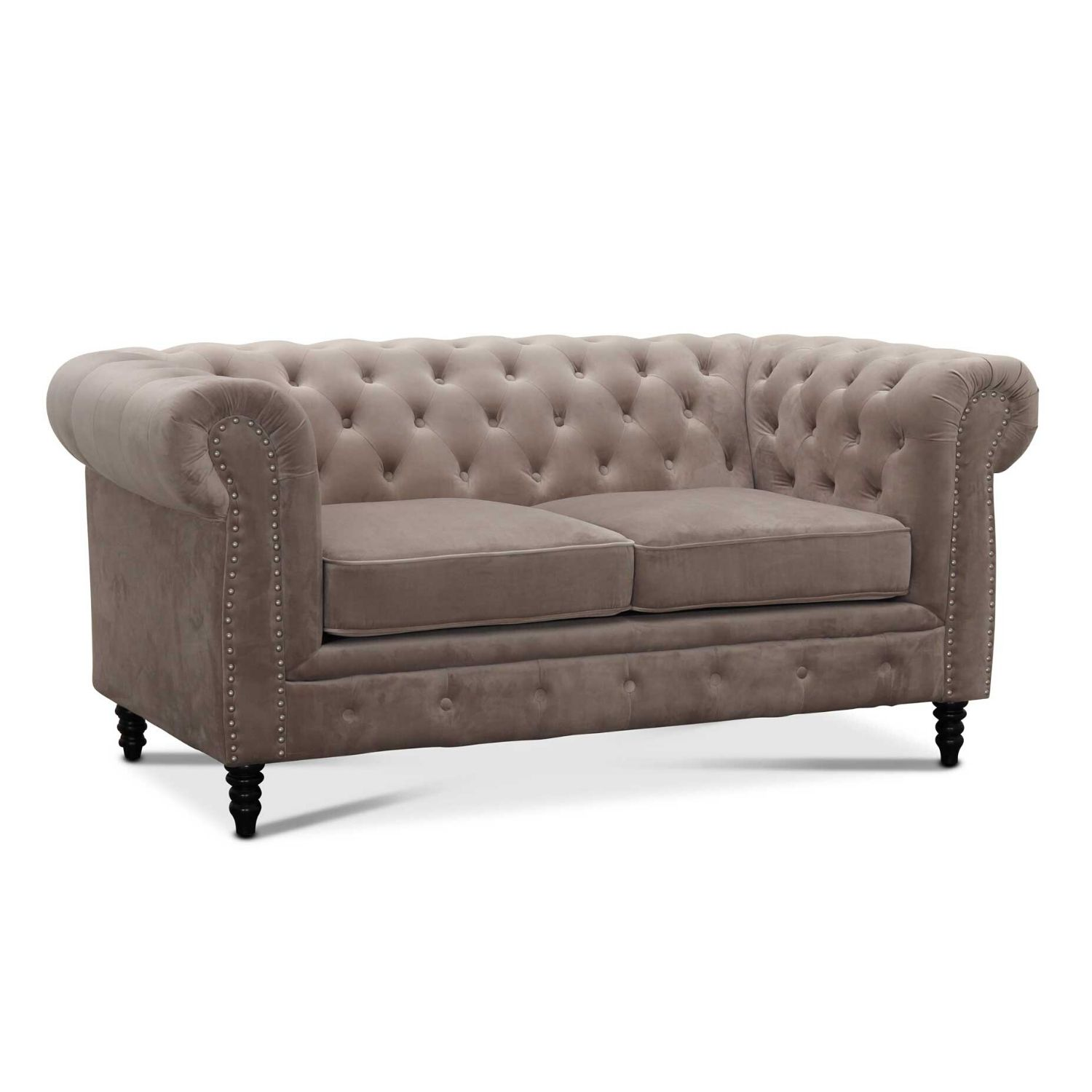 Image of   HAGA Cambridge sofa - lysegråt fløjl stof, 2 pers.