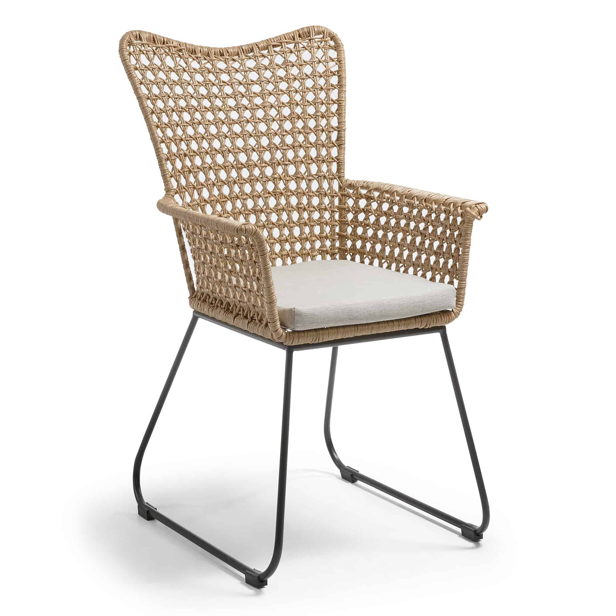 Laforma samira lænestol - beige/grå polyrattan/stål, m. armlæn fra laforma på boboonline.dk