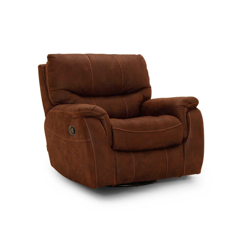 Image of   HAGA Colorado lænestol - brunt mikrofiber stof, m. armlæn, m. recliner-, dreje- og vippefunktion