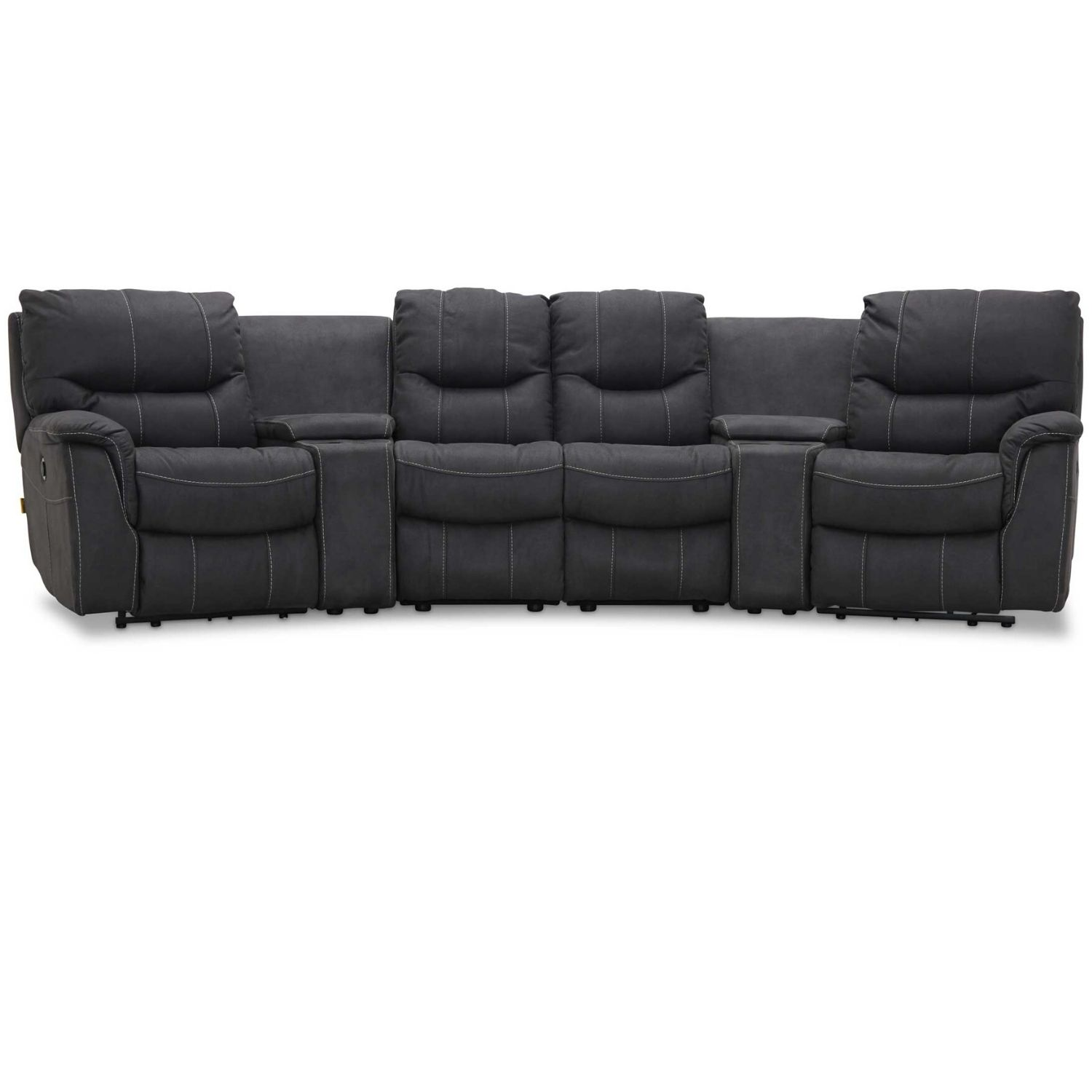 Image of   HAGA Colorado sofa - grafit grå stof, 4 pers., m. recliner funktion