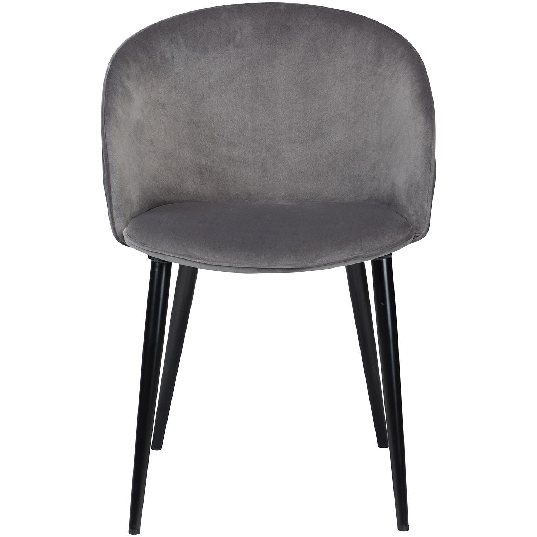 DAN-FORM Dual spisebordsstol, m. armlæn - grå velour og sort stål